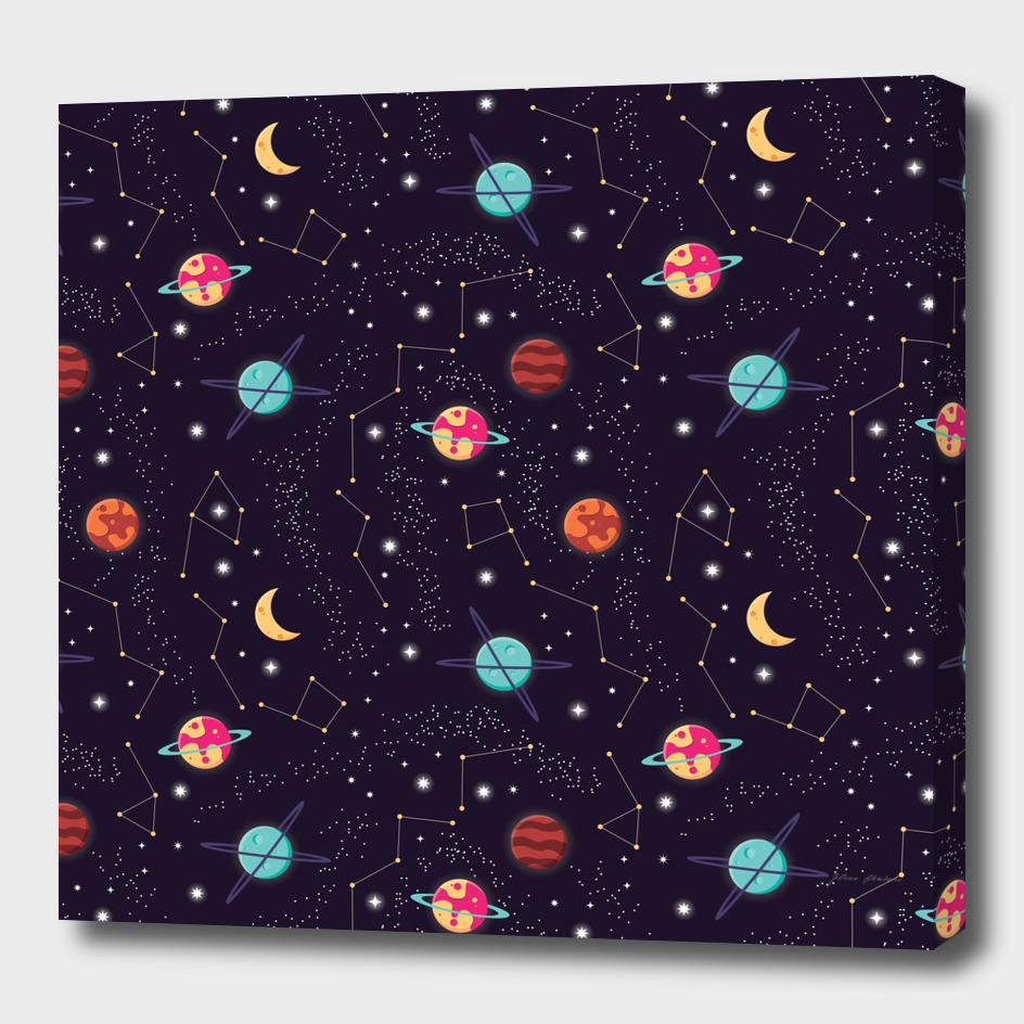 Universe with planets and stars seamless pattern, cosmos 001