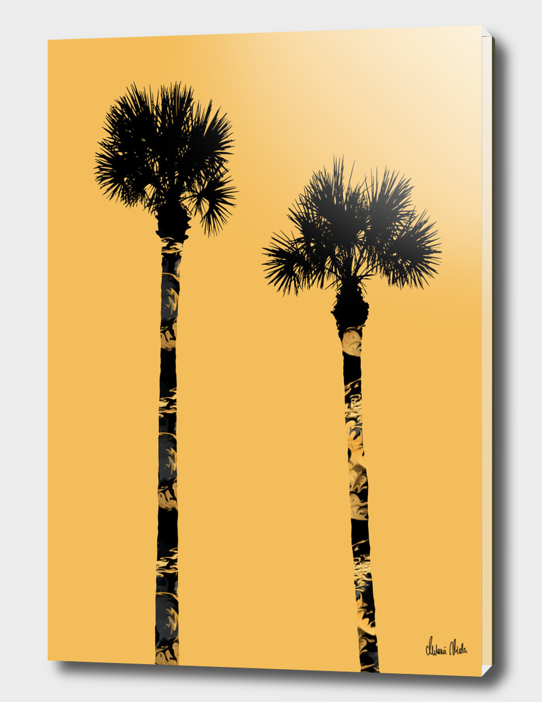 Graphic Art PALM TREES | yellow