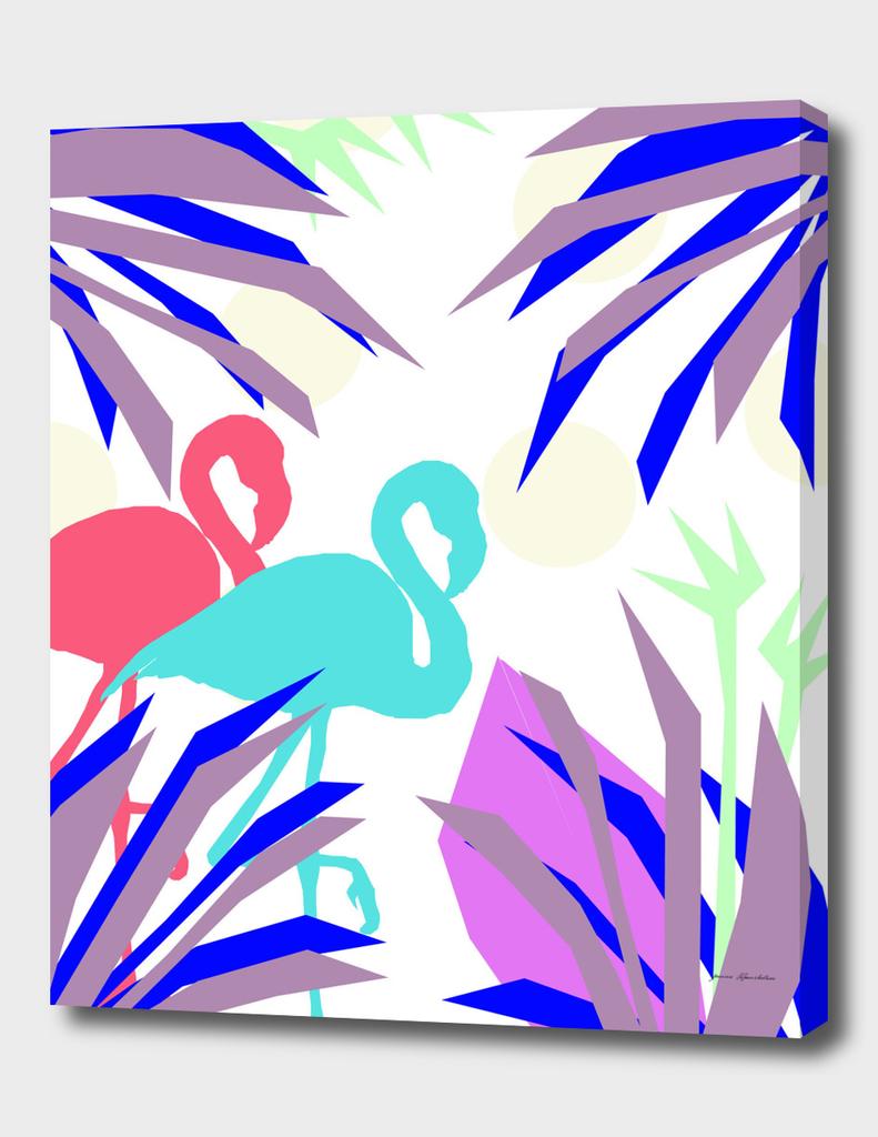 flamingo jungle blue