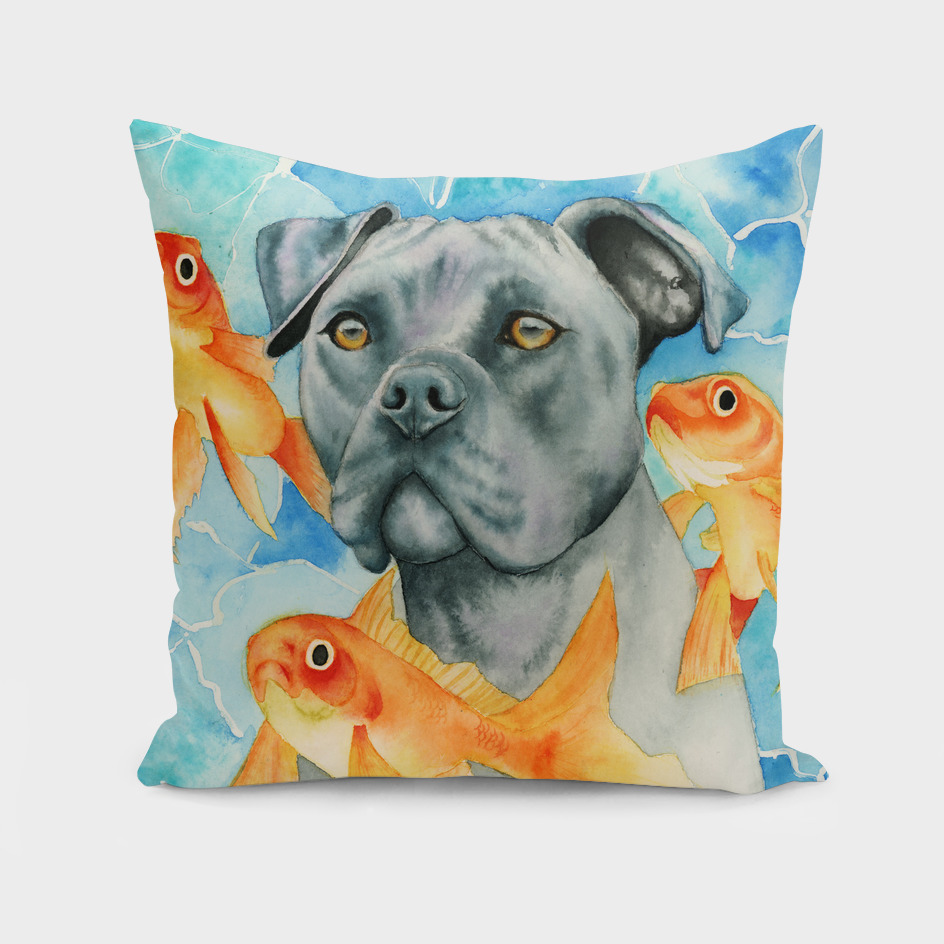 Guardian | Pit Bull Dog and Goldfishes Watercolor Painting