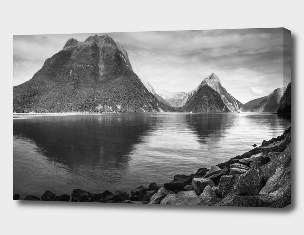 Morning Reflections at Milford Sound in black and white