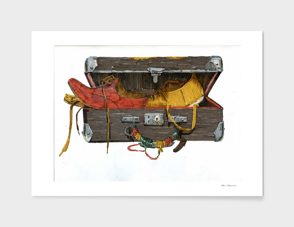 The old suitcase with boots