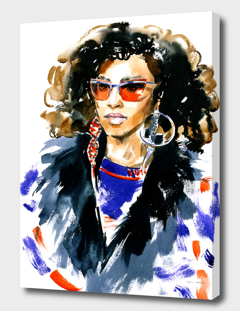 Fashion illustration: a woman in red glasses