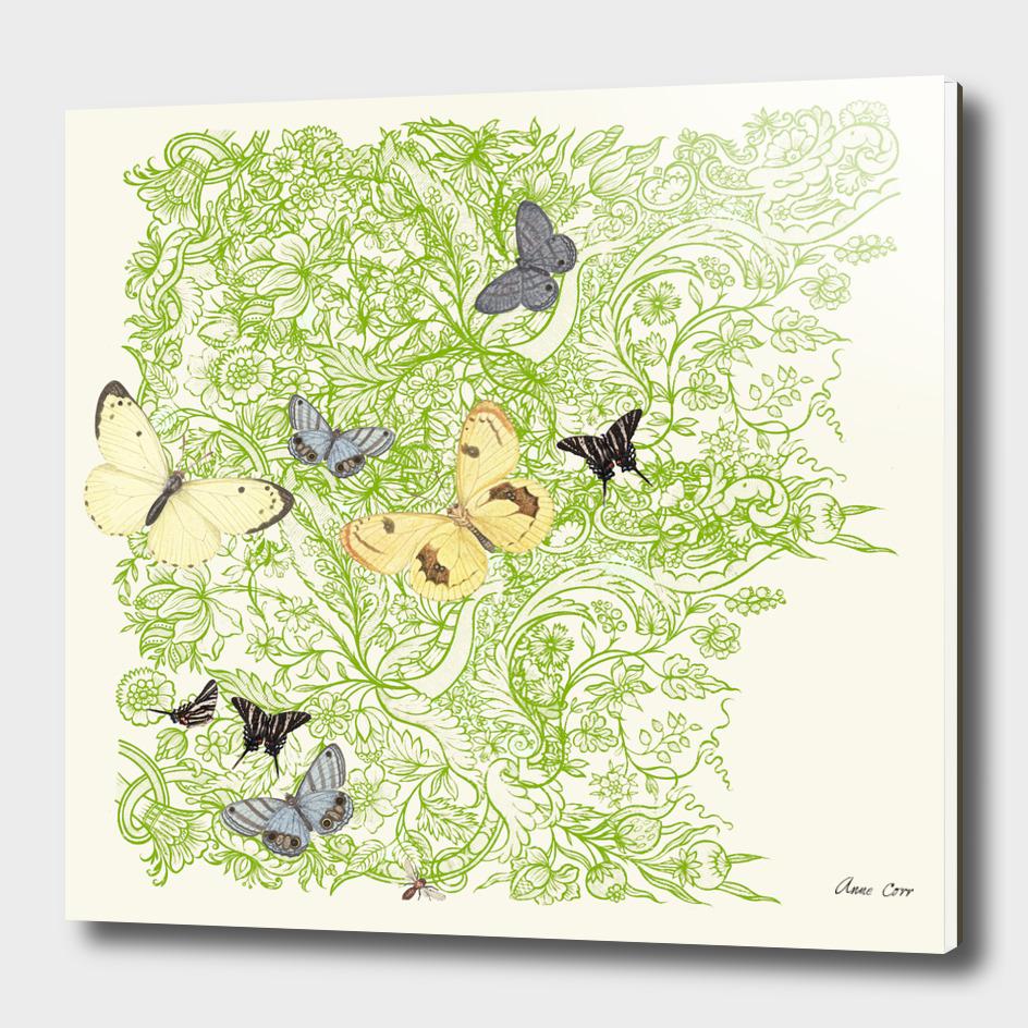 Butterflies in the bee loud glade