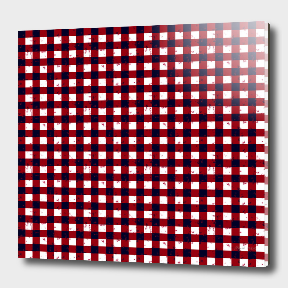 Gingham Red Black and White Pattern