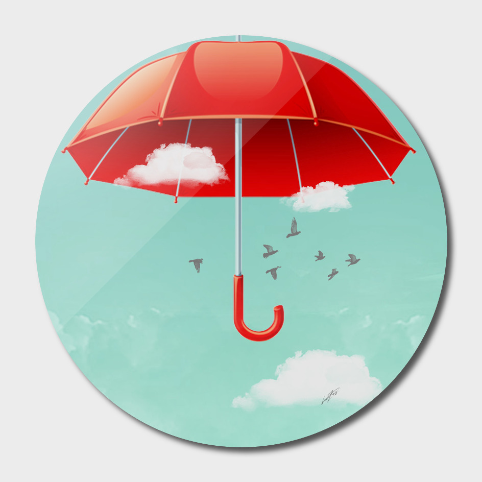 Teal Sky Red Umbrella