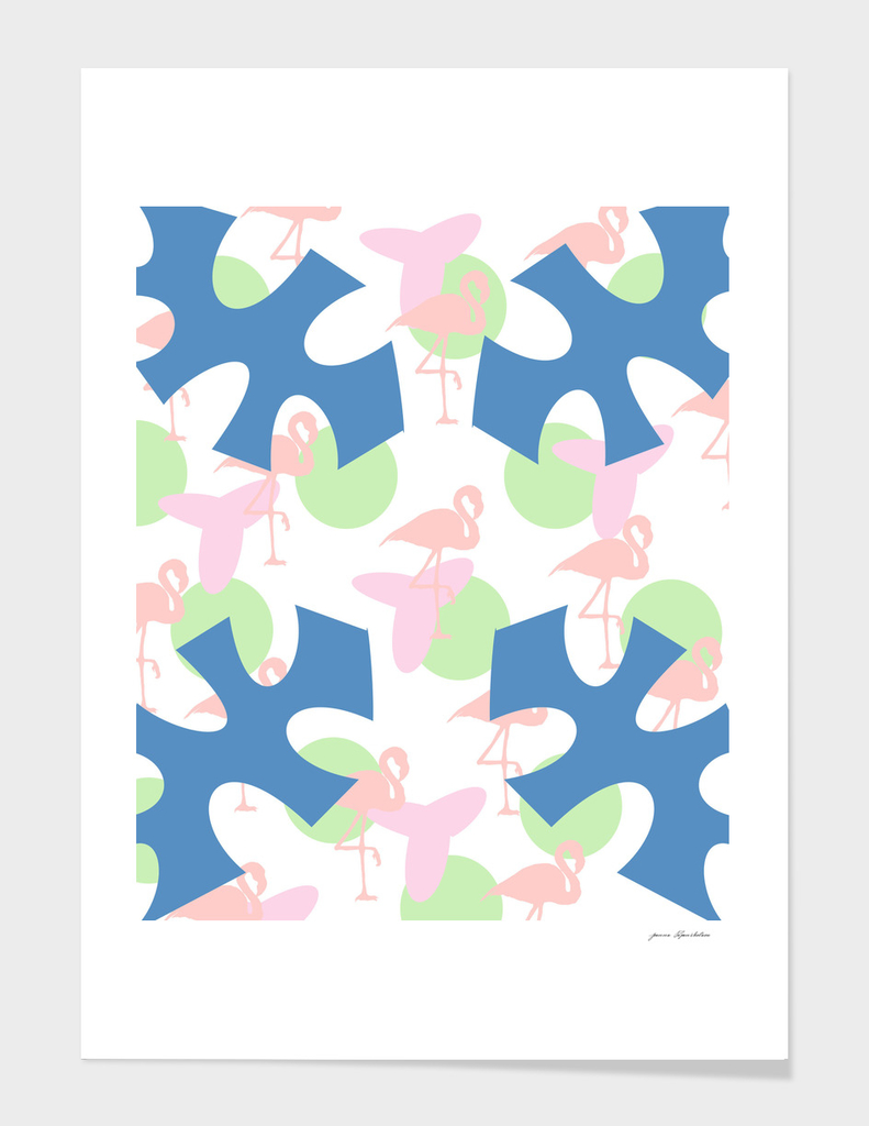 flamingo blue motif