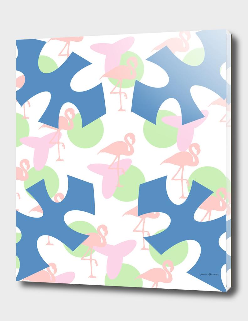 flamingo blue motif