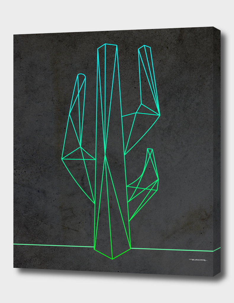 Polygonal abstract green cactus