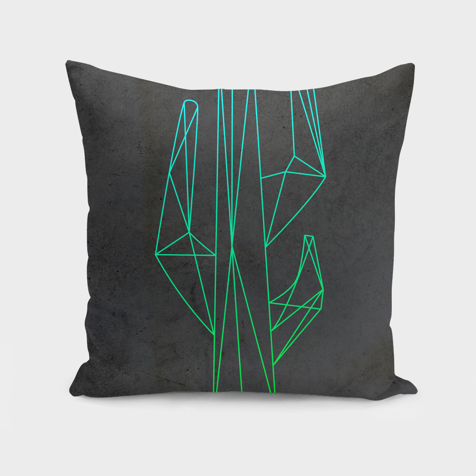 Polygonal abstract green cactus
