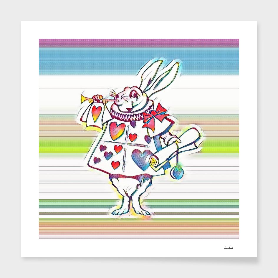 Rabbit Playing Bugle Multi-Color
