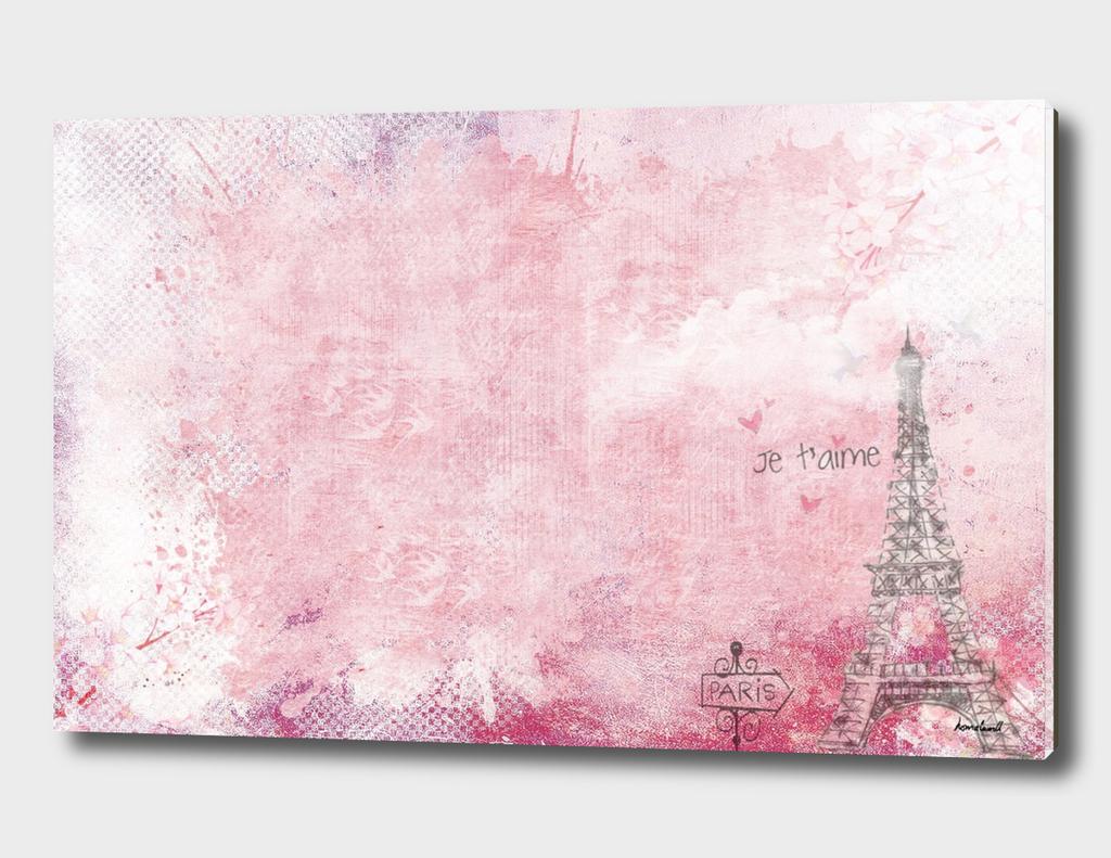 Paris abstract Landscpe On Pink