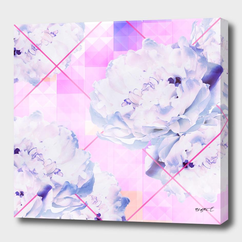 Geometric Hot Pink Peonies Flowers Design