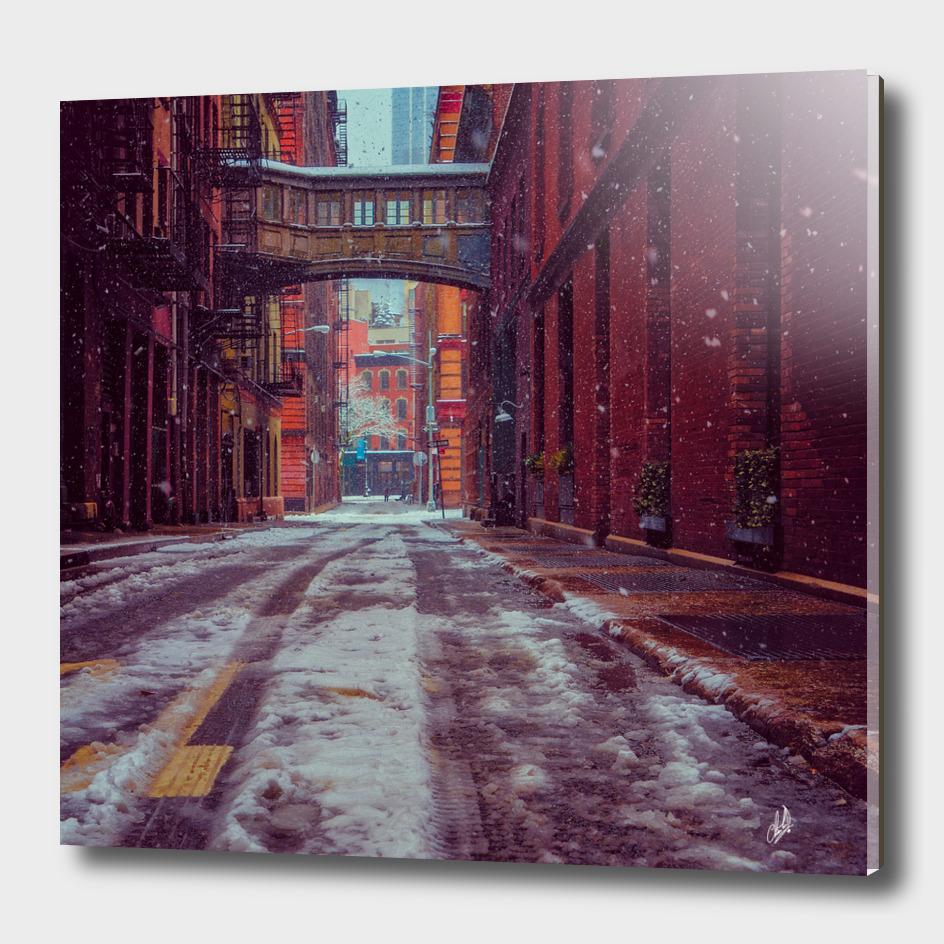 Staple Street Sky Bridge In Snow