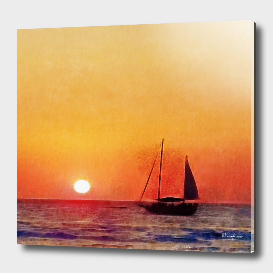 Sunset and Boat in Puerto Vallarta Mexico Fine Art