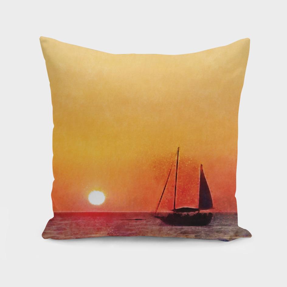 Sunset and Boat in Puerto Vallarta Mexico Fine Art