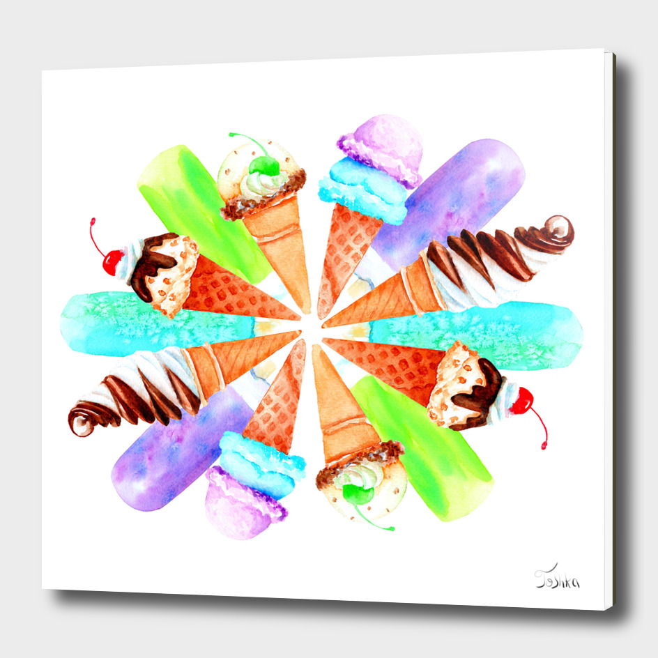 watercolor drawing of ice cream and cake