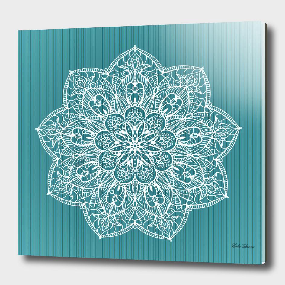 Blue and white Floral Mandala