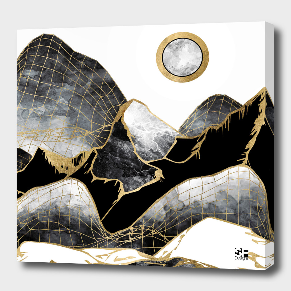 Minimal Black and Gold Mountains
