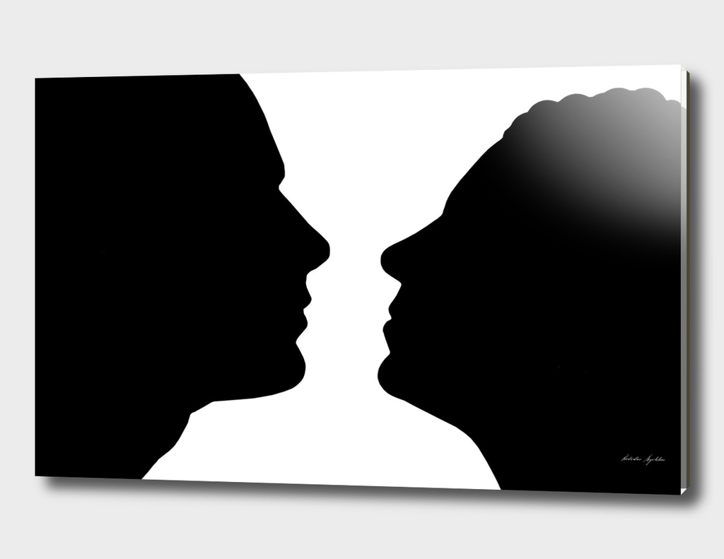 Silhouette of couple.
