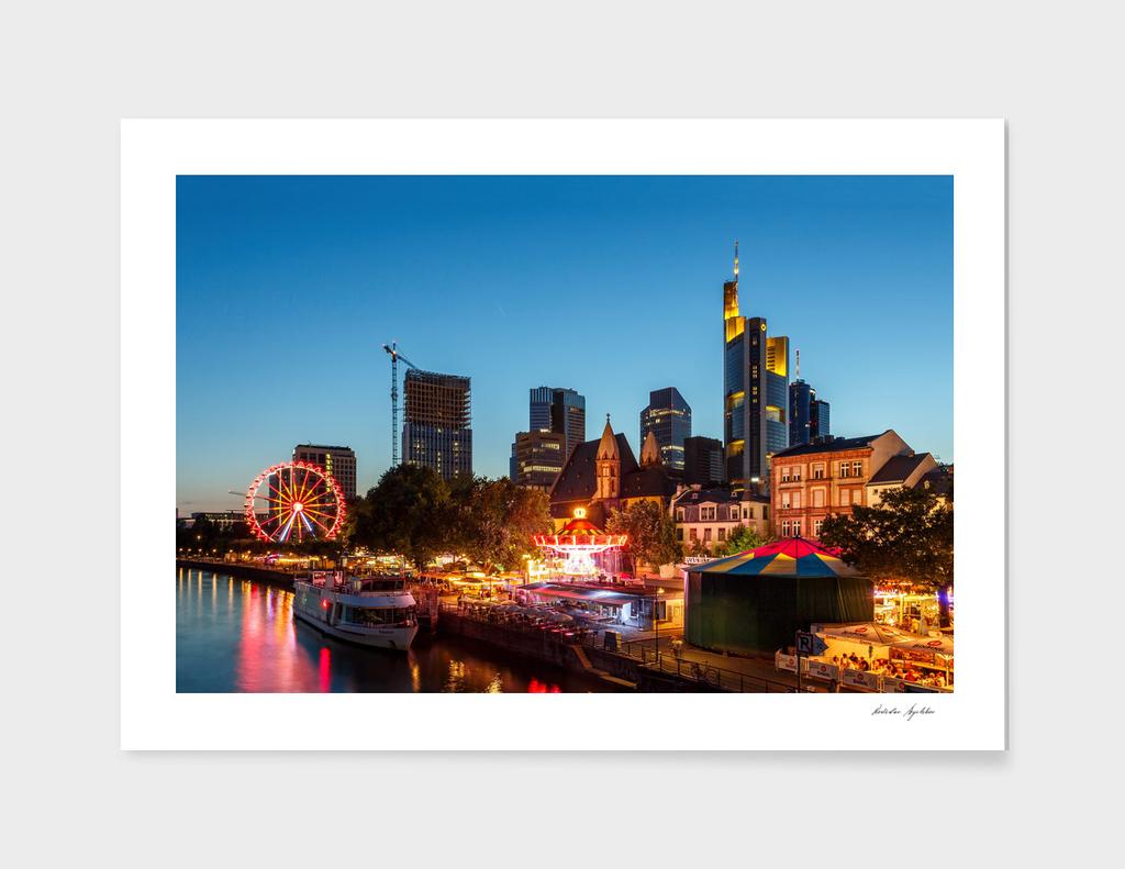 Frankfurt am Main - the capital of Germany at night.