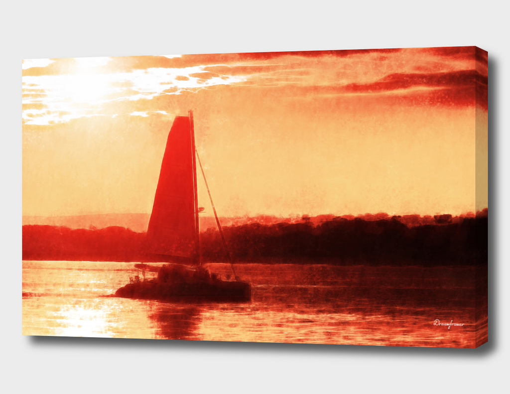 Sunset and Boat in San Diego California Fine Art