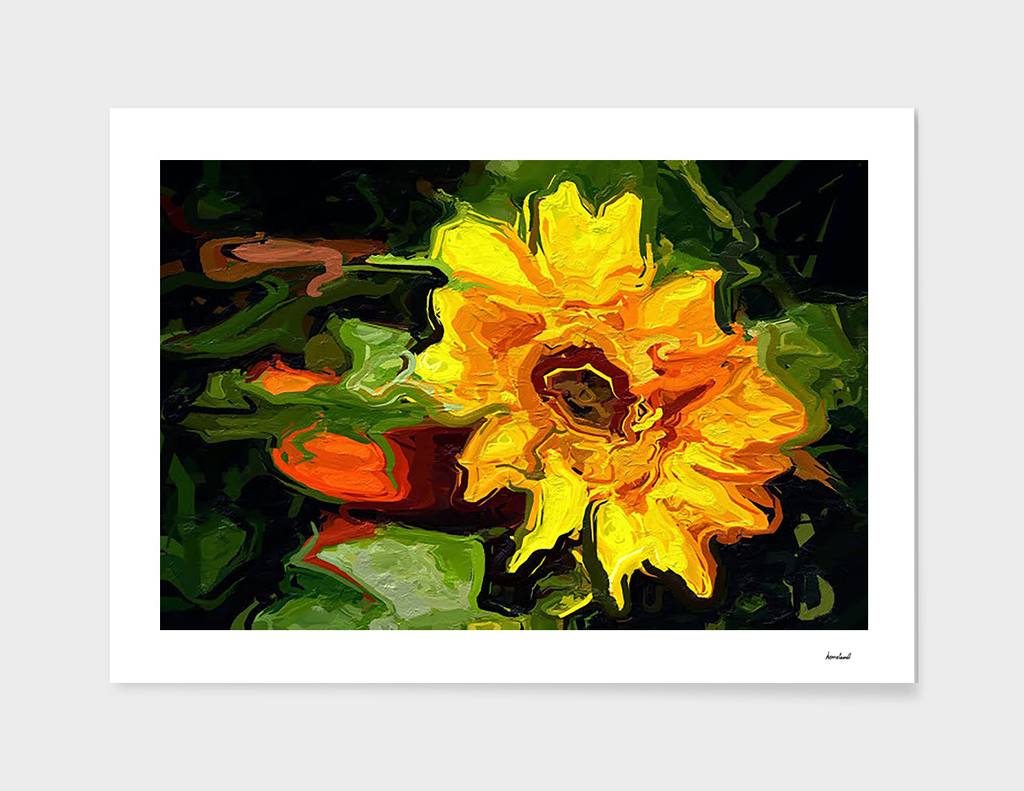 Yellow Abstract Flower