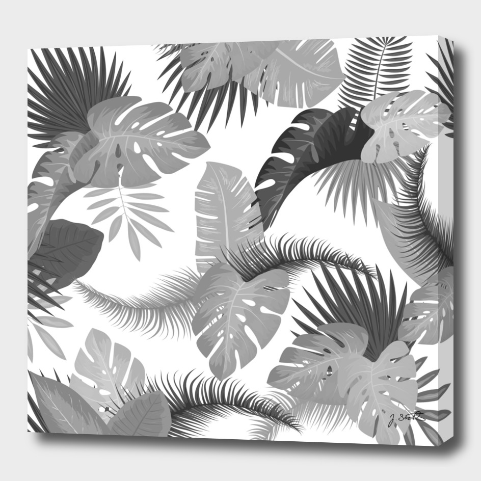 Tropical Leaves BW