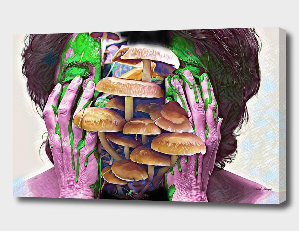 mushroom head cracked open