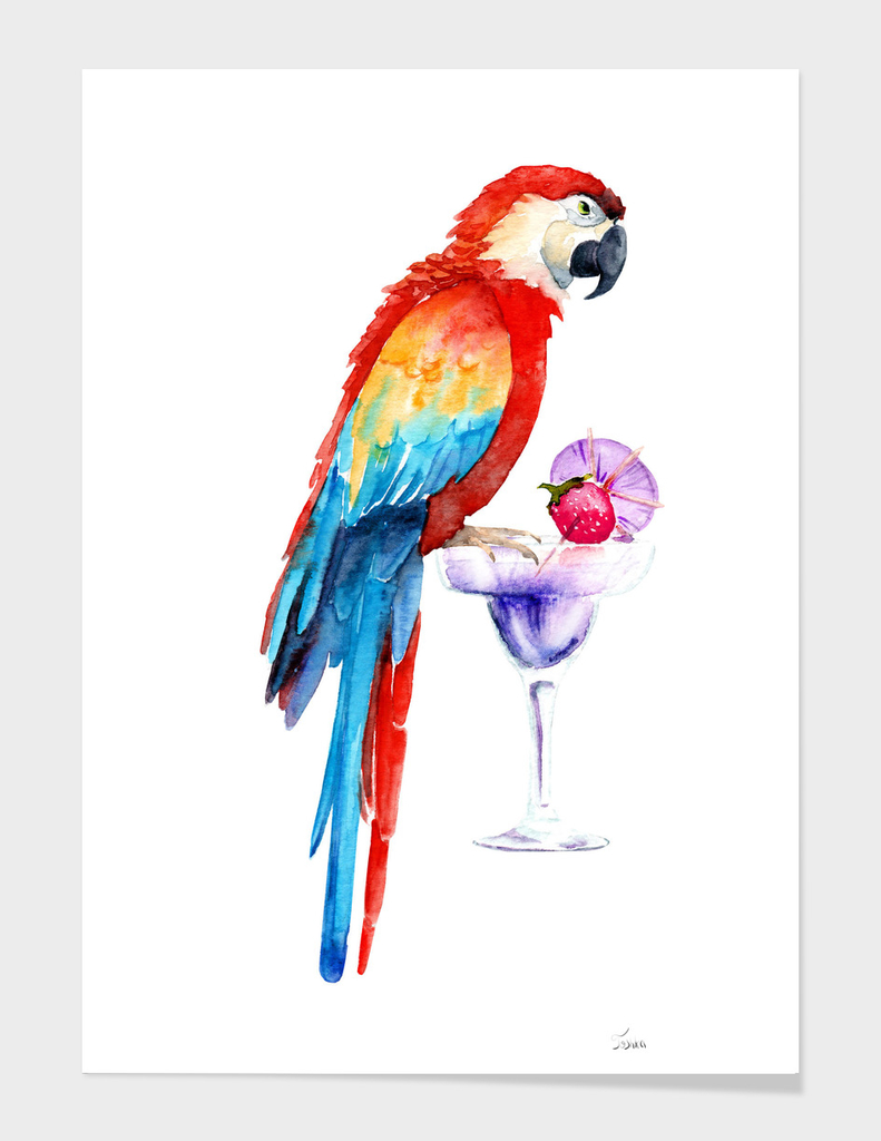 parrot with a cocktail