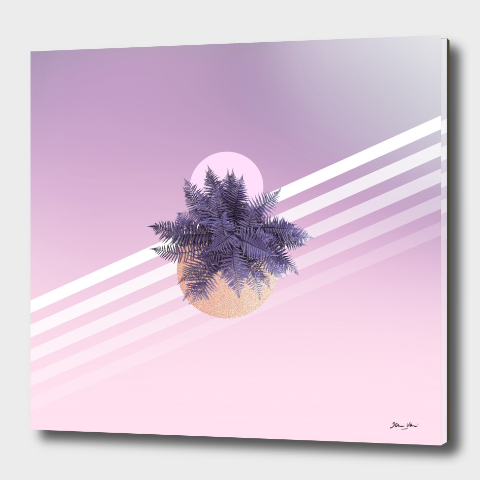 Moon Fern on Pink and Violet Ombre