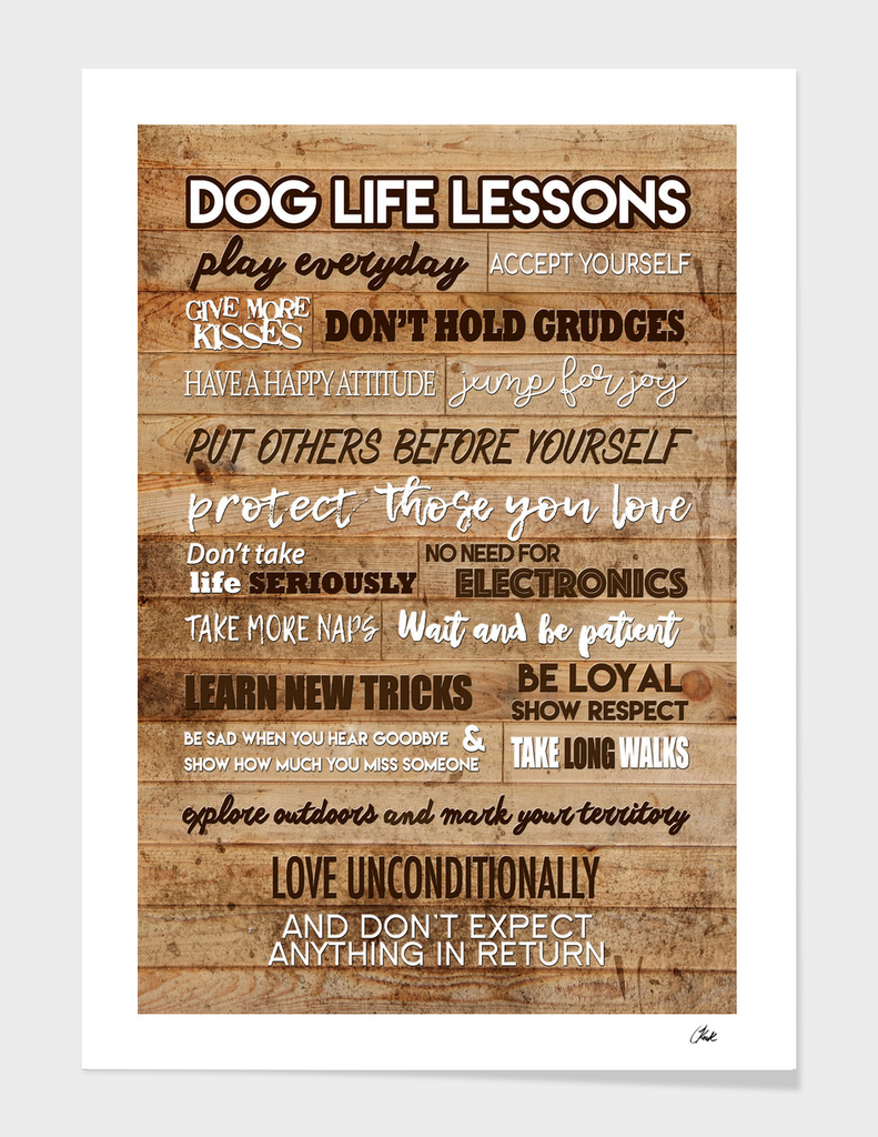 Dog Life Lesson Wood