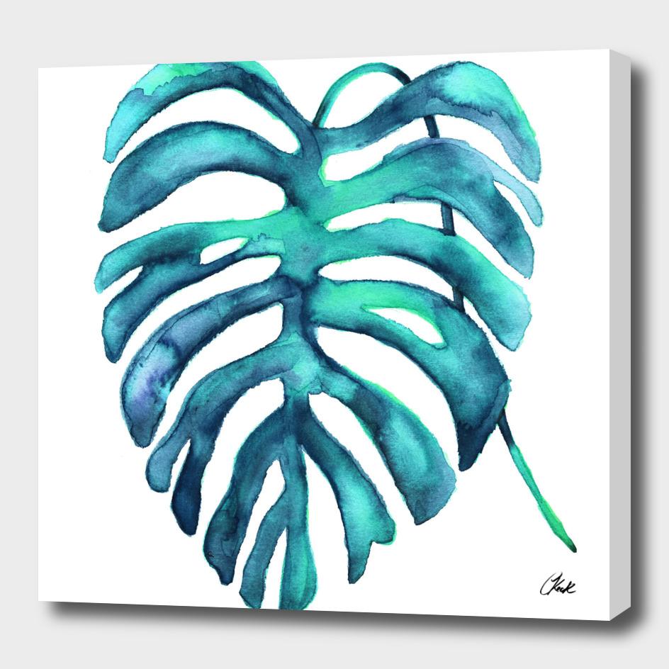 Watercolor Blue Palm2