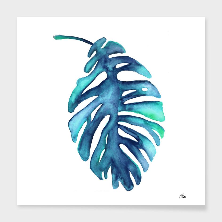 Watercolor Blue Palm Leaf