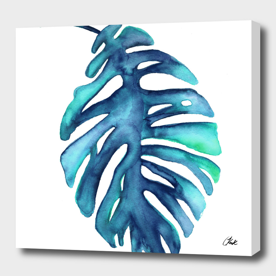 Watercolor Blue Palm Leaf