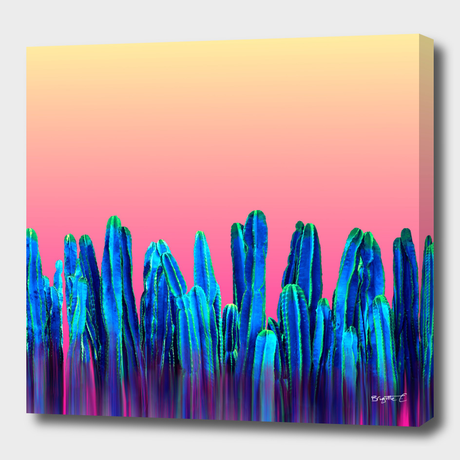 Candy Sunset Blue Cactus Glitch