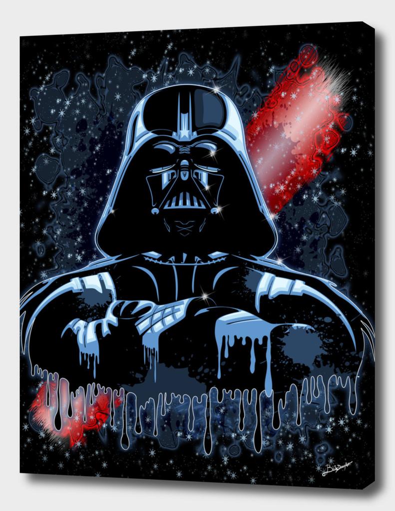 Darth Vader Mask on Dark Paint Stains