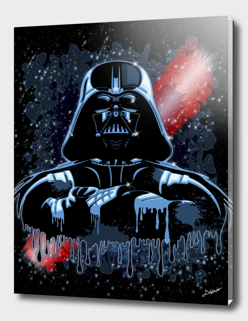 Darth Vader Mask on Dark Paint Stains