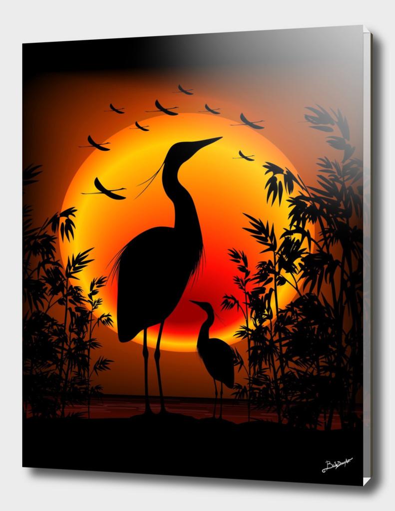 Heron Shape on Exotic Zen Sunset