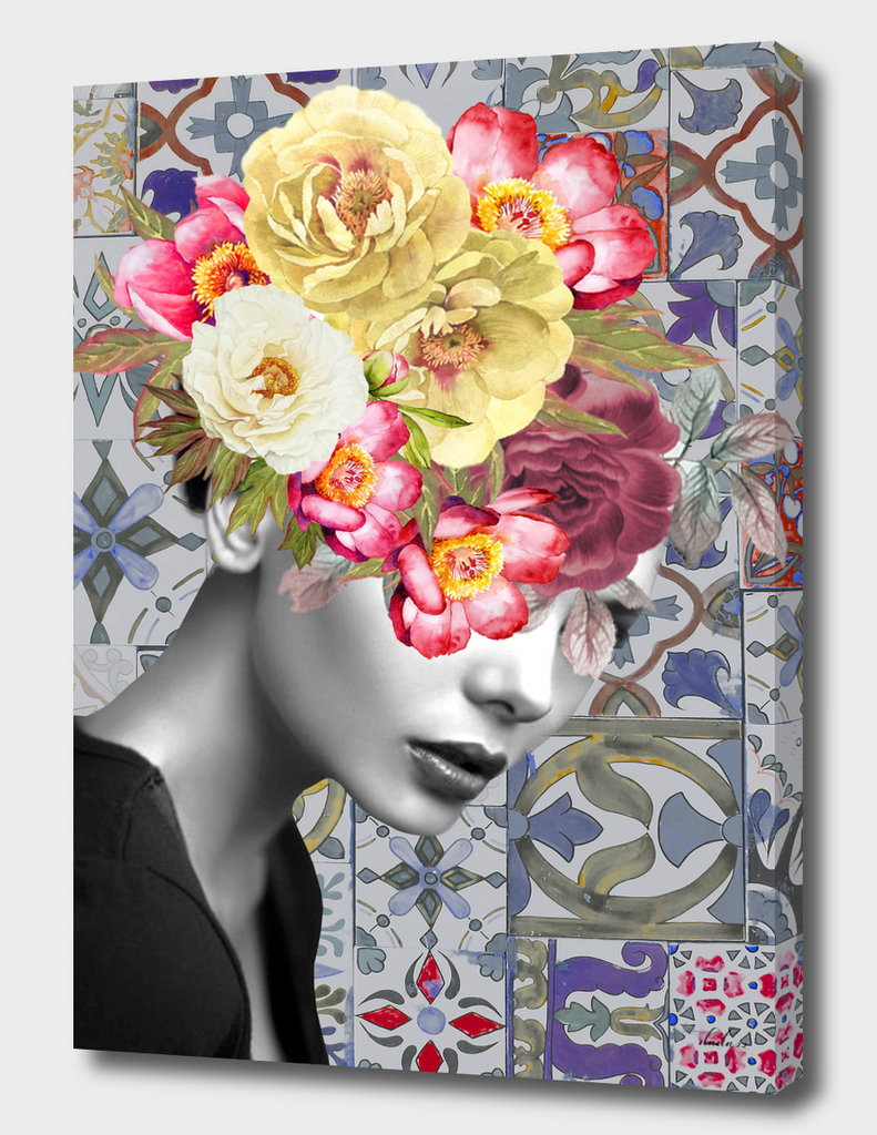 collage art-girl with flowers