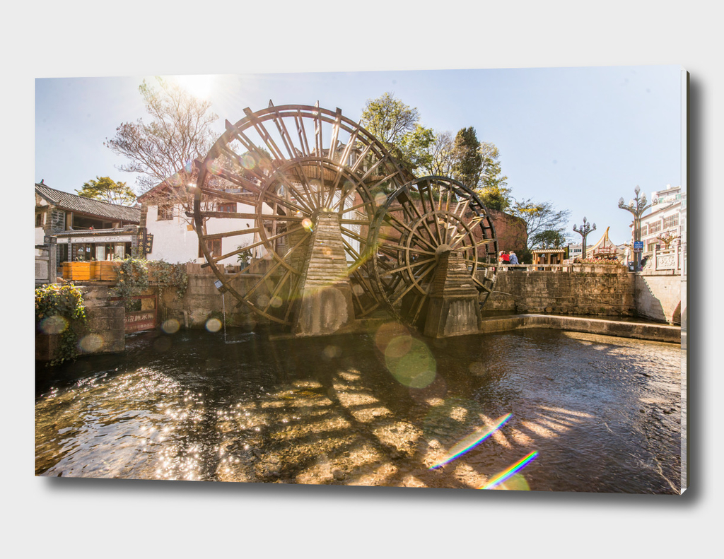 Old wooden water wheel
