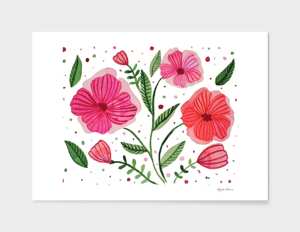 Spring watercolor flowers - pink and green