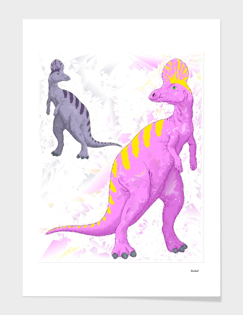 Abstract Lambeosaurus Dinosaurs