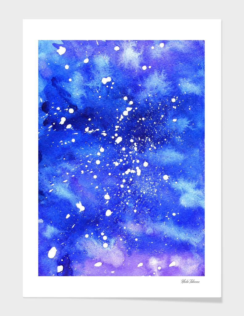 Watercolor Abstract Galaxy. Vertical Edition
