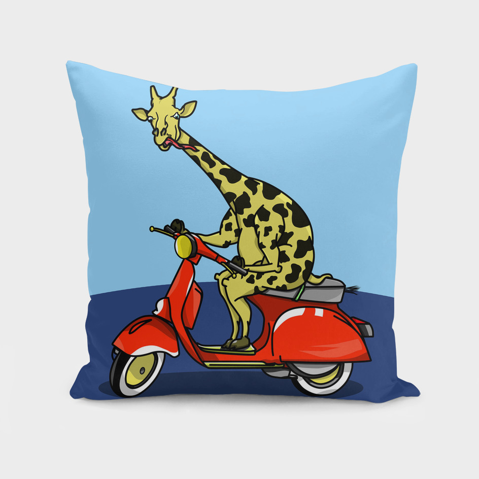 Giraffe riding a moped