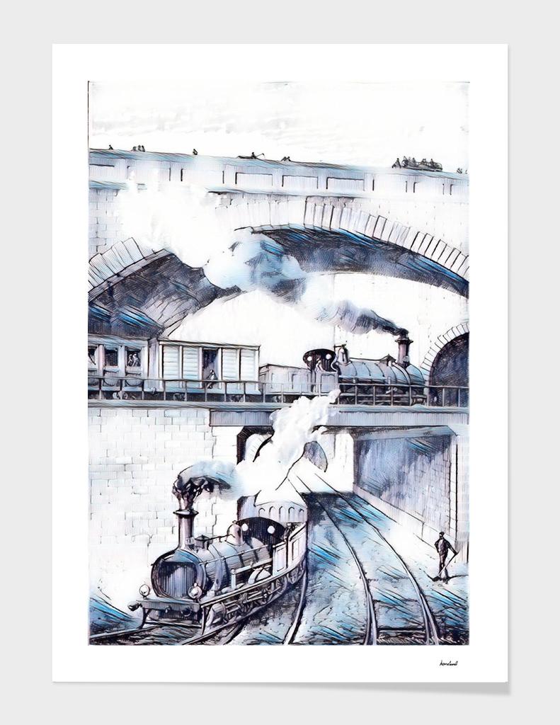 Steam Trains Blue & White