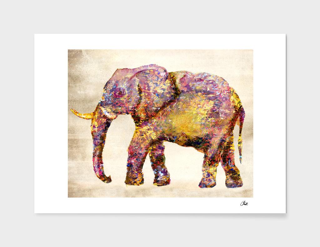 Elephant Collage Distressed