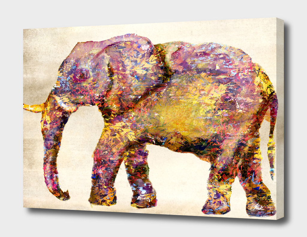 Elephant Collage Distressed