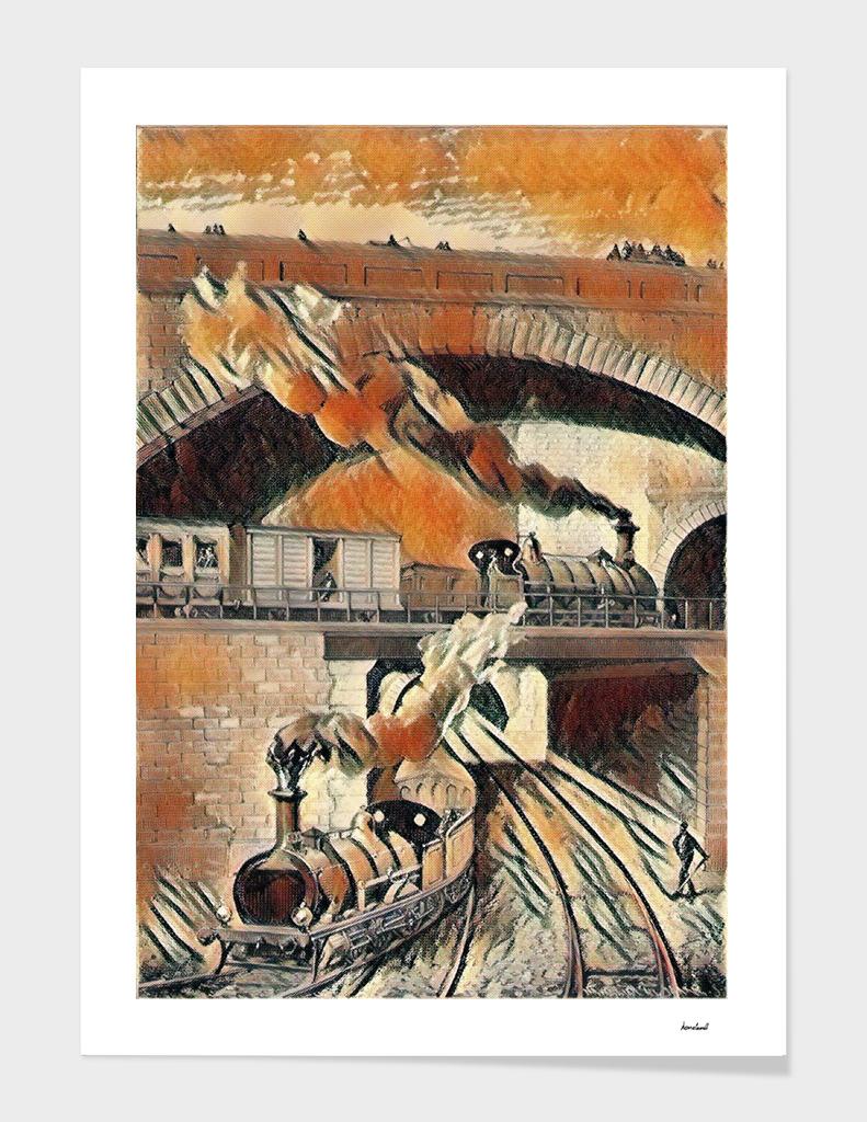 Steam Trains Orange & Brown
