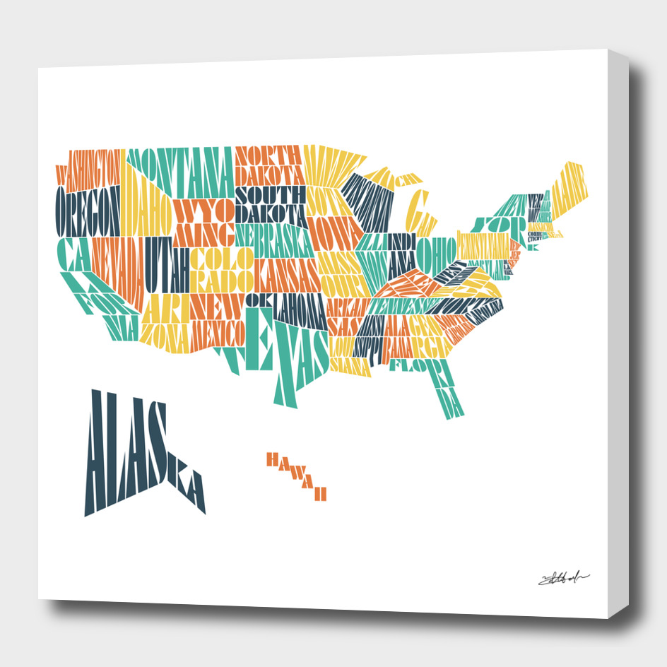 United States Territories Stencil Written Word Cloud Map